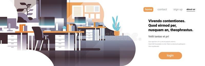 现代工作场所内阁室办公室内部不倒空人平的水平的横幅拷贝空间 库存例证