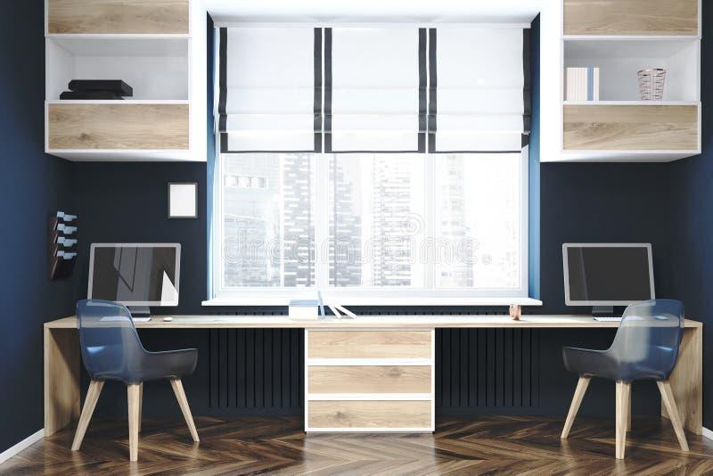 现代工作场所或家庭办公室内部 向量例证