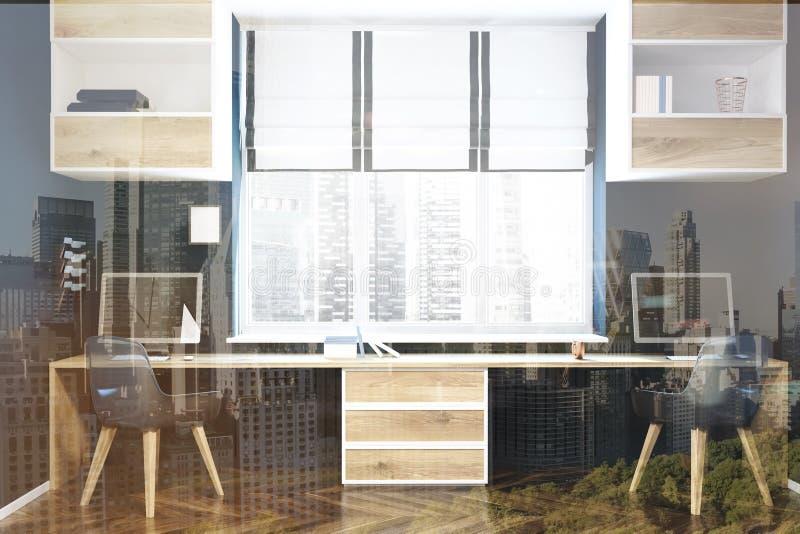 现代工作场所或被定调子的家庭办公室内部 向量例证