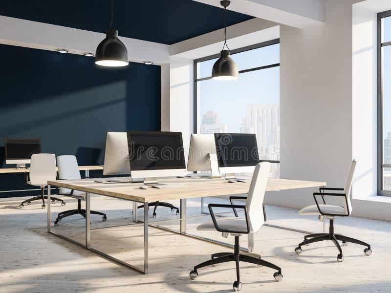 现代工作场所或计算机实验室,黑天花板 向量例证