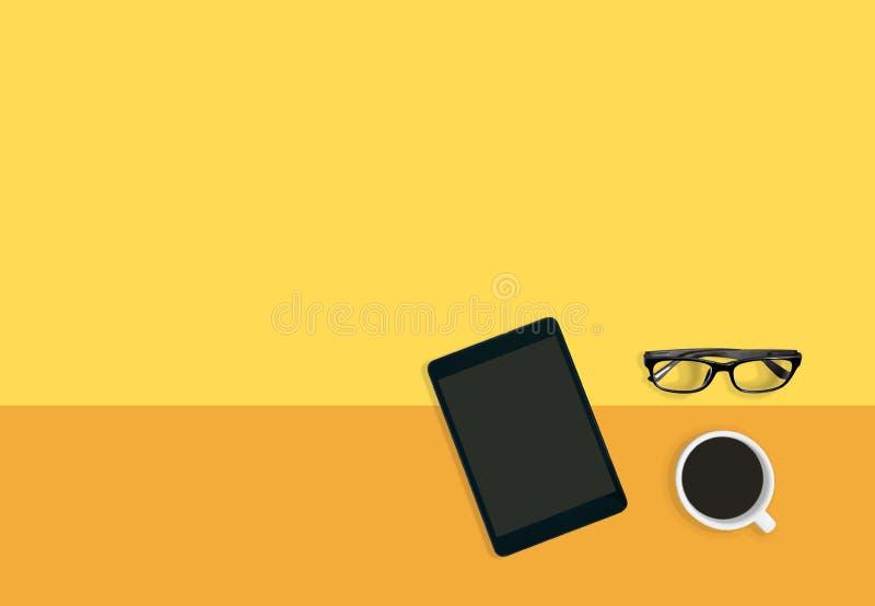 现代工作场所概念 黄色背景用咖啡、眼睛玻璃和片剂有拷贝空间的 向量例证