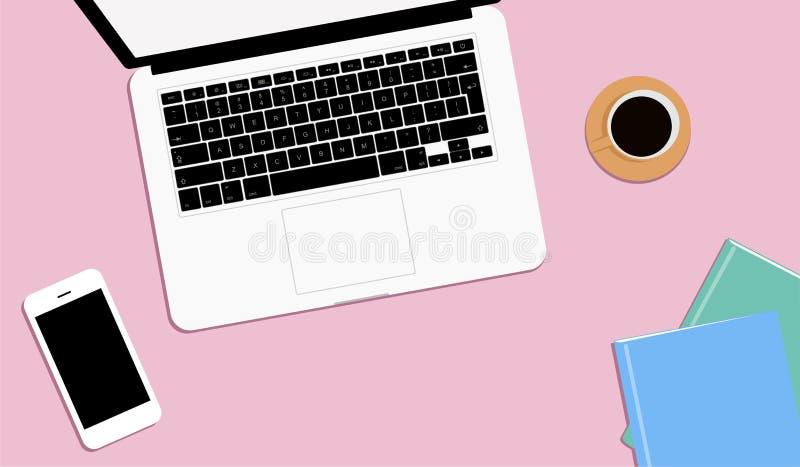 现代工作场所顶视图  桃红色桌,办公用品,膝上型计算机,书,笔记本,电话 r 皇族释放例证