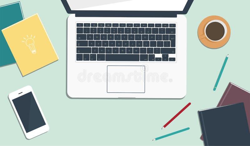 现代工作场所顶视图  选材台,办公用品,膝上型计算机,书,笔记本,电话 r 库存例证