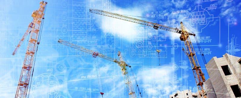 现代工程的技术在建筑 免版税库存图片