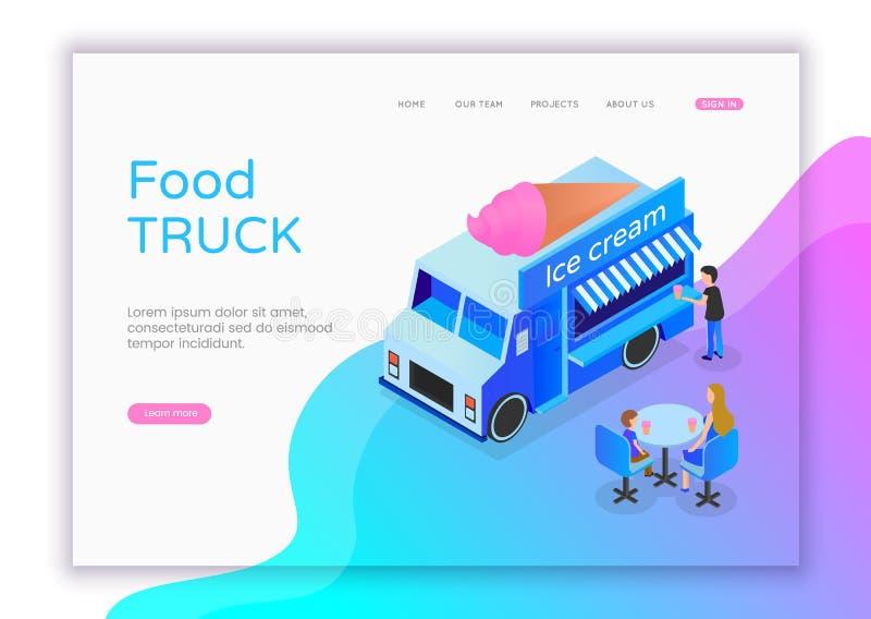 现代平的冰淇淋商店的设计等量概念网站和流动网站的 街道等量食物的卡车 皇族释放例证