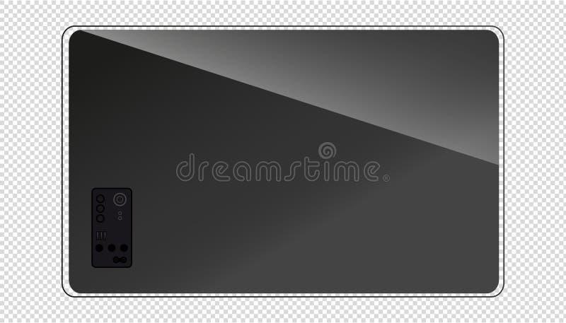 现代平的电视屏幕-后面看法-透明背景 向量例证