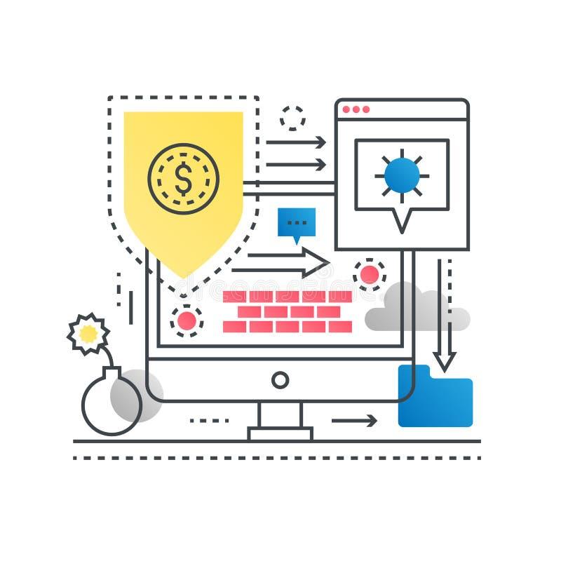 现代平的稀薄的线设计传染媒介例证,互联网安全,网络保护的infographic概念和 向量例证