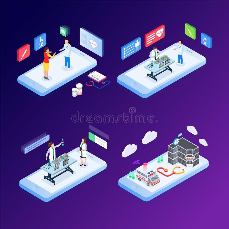 现代平的网上医学和医疗保健的设计等量概念横幅和网站的 等量登陆的页模板 向量例证