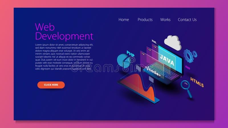 现代平的网发展的设计等量概念网站和流动网站的 r 容易编辑和古芝 向量例证