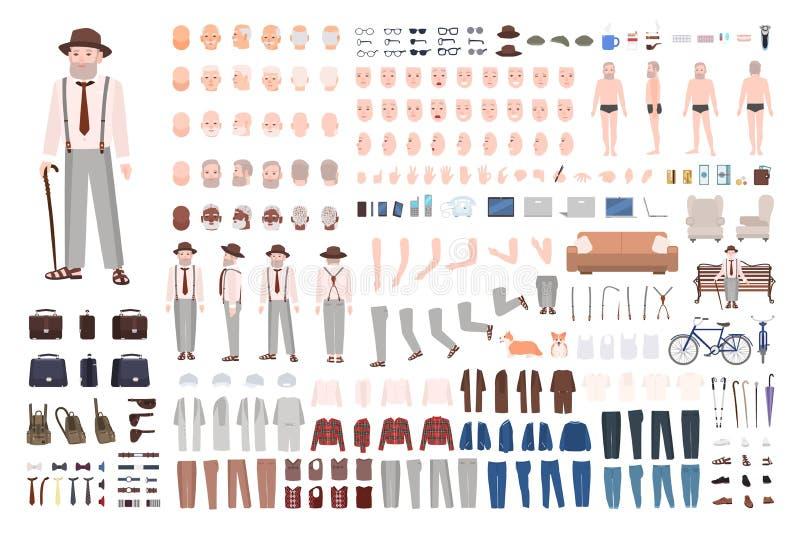 现代年长人或祖父DIY成套工具 套男性身体分开用不同的位置,姿态,表情 向量例证