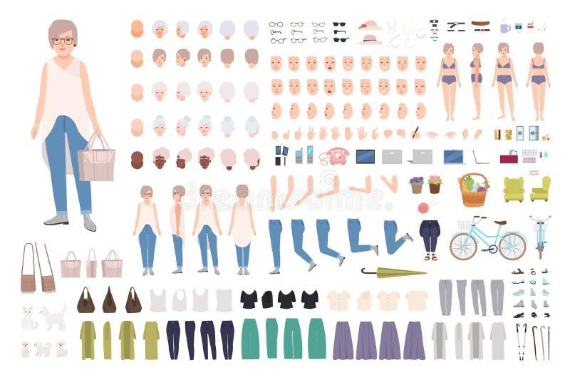现代年长妇女或老妇人DIY成套工具 捆绑祖母` s身体局部,手势,被隔绝的时髦的衣物 皇族释放例证