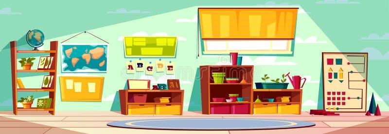 现代幼儿园空的内部动画片传染媒介 库存例证