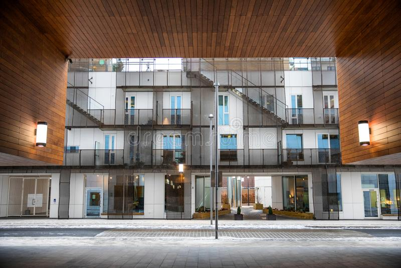 现代建筑学条形码项目奥斯陆 免版税库存图片
