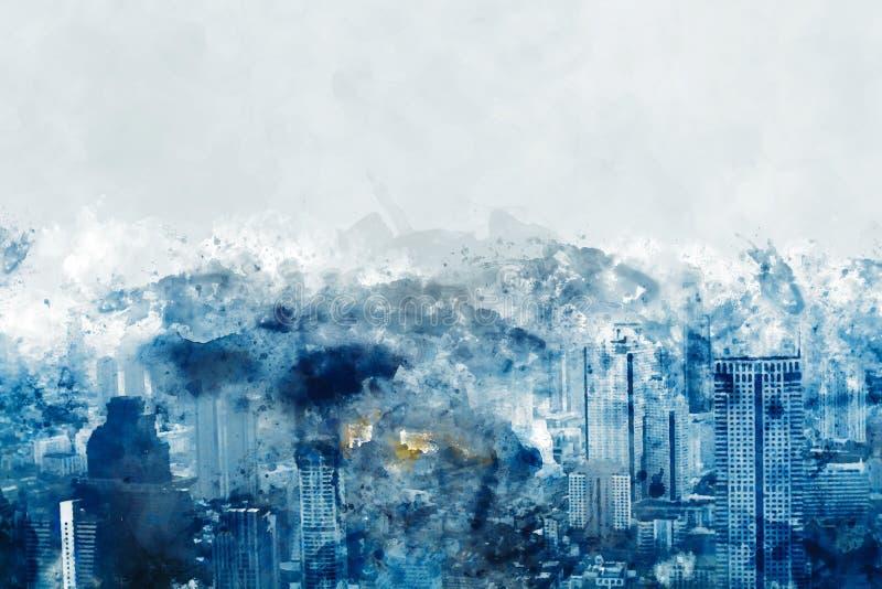 现代建筑蓝色数字绘画—摩天大楼背景图 库存例证