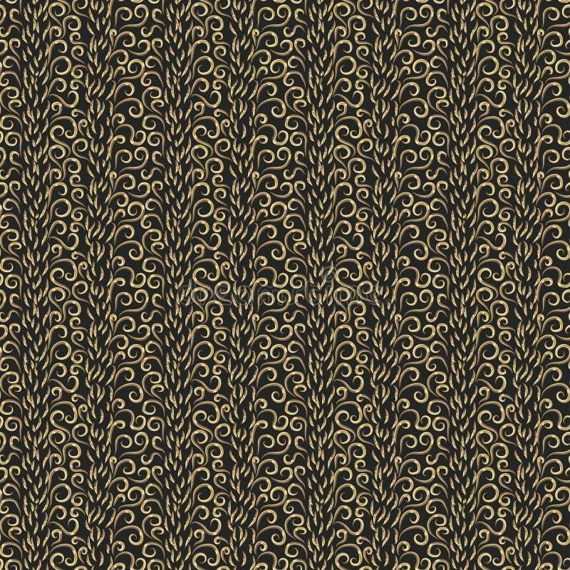 现代弯曲的传染媒介无缝的样式 在黑背景的抽象金黄卷毛 向量例证