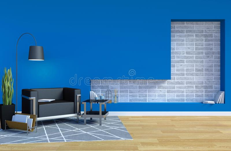 现代当代客厅内部与在墙壁上的蓝色墙壁和拷贝空间嘲笑的 库存例证