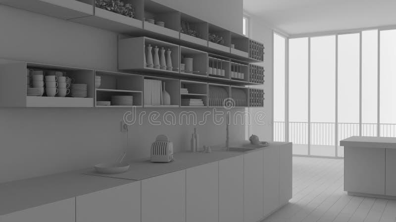 现代当代最低纲领派白色厨房总白色项目有内阁和架子的,与全景窗口的露天场所,m 皇族释放例证