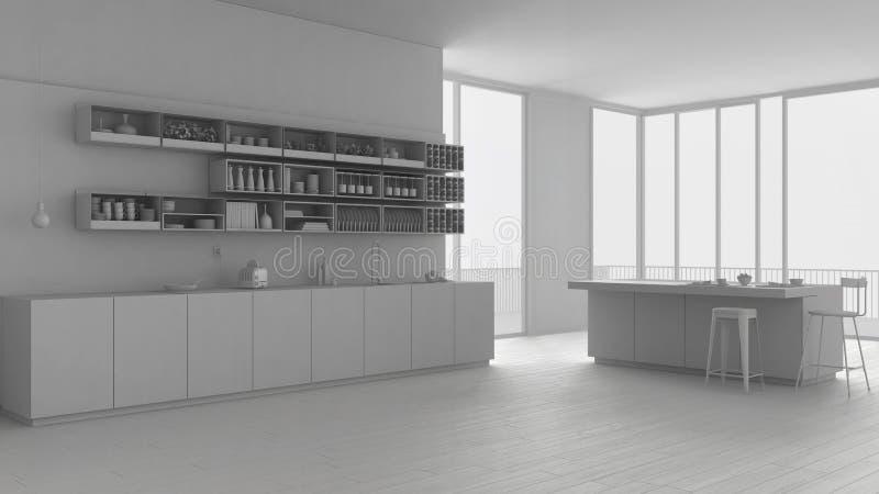 现代当代最低纲领派白色厨房,架子和海岛,与全景的露天场所总白色项目有内阁的 库存例证