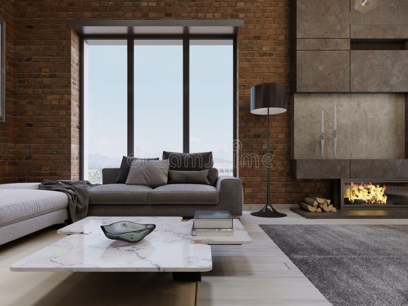 现代当代顶楼设计客厅公寓内部 向量例证