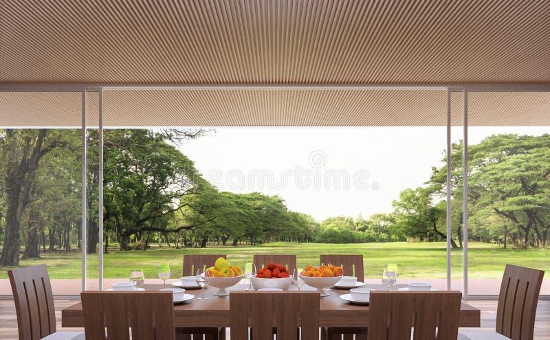 现代当代餐厅3d翻译图象 有大开门 俯视木大阳台和大庭院 向量例证