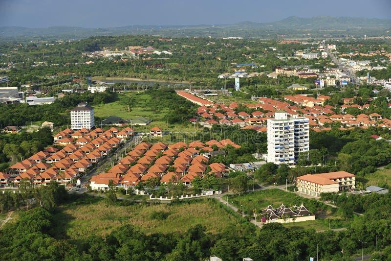 现代房子复杂, Jomtien海滩,芭达亚, Cho鸟瞰图  库存照片