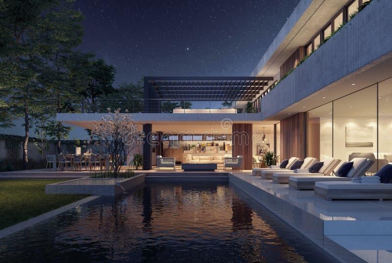 现代房子外部设计在与游泳场的晚上 向量例证