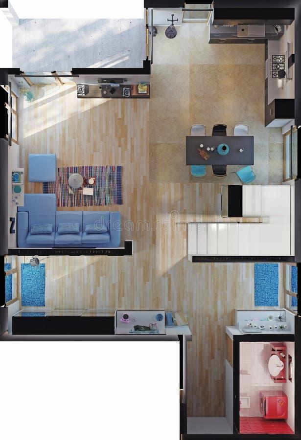 现代房子房间顶视图 皇族释放例证