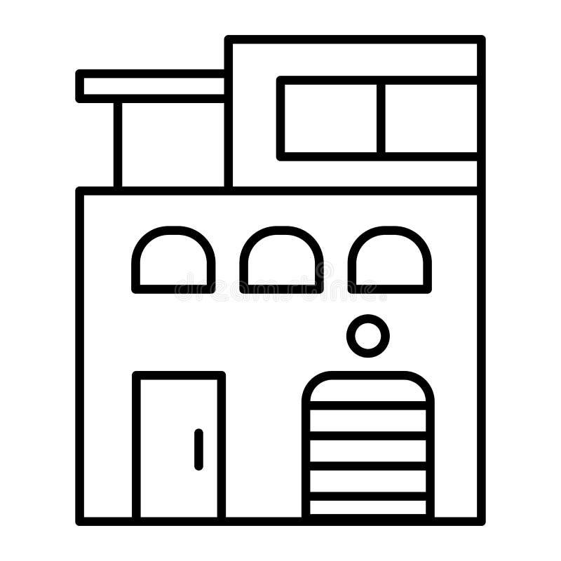 现代房子稀薄的线象 不动产在白色隔绝的传染媒介例证 当代房子概述样式设计 皇族释放例证