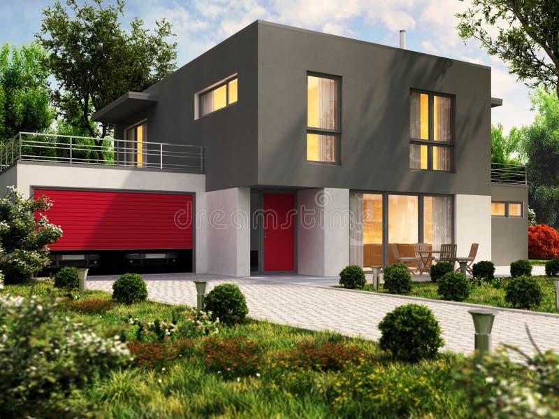 现代房子设计和大车库的汽车 库存图片