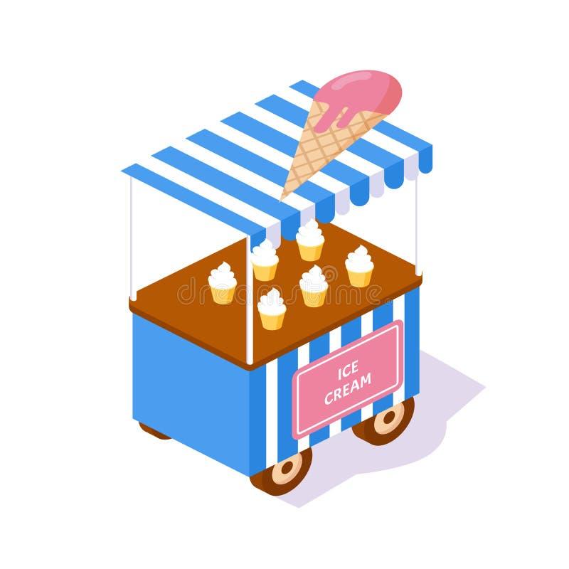 现代报亭,与食物自然冰淇淋的街道3d陈列室 向量例证