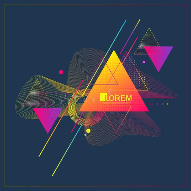 现代抽象三角几何样式设计和背景与动态线性波浪 适当传染媒介的例证 皇族释放例证