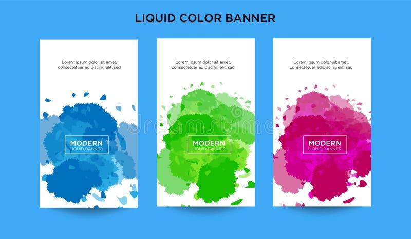 现代抽象传染媒介横幅设置了与各种各样的颜色的液体形状 现代传染媒介模板,商标背景的模板 向量例证