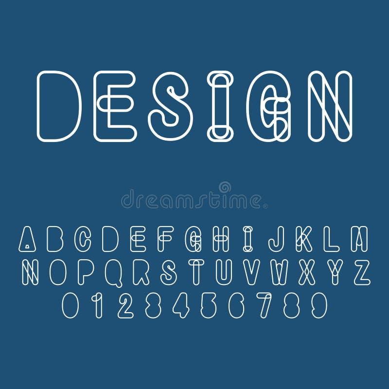 现代抽象印刷字体和字母表 向量例证