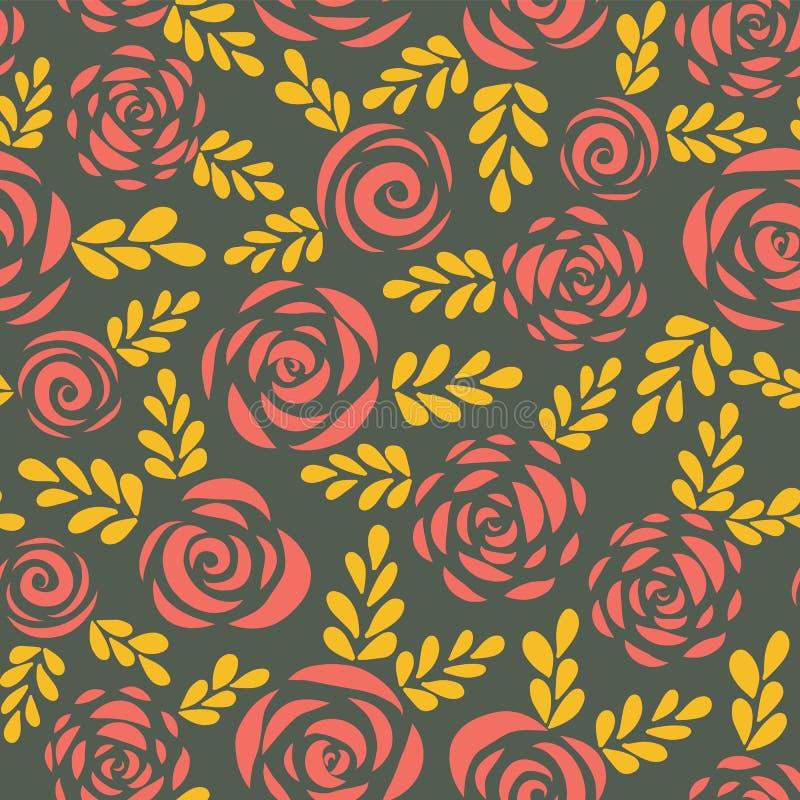 现代抽象平的玫瑰和叶子红色金子无缝的传染媒介背景 花卉剪影 华伦泰的花纹花样, 向量例证