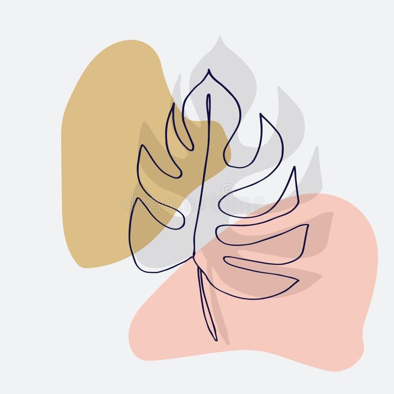 现代抽象形状导航背景或布局 等高线monstera图画叶子  现代简单派艺术,审美cont 向量例证