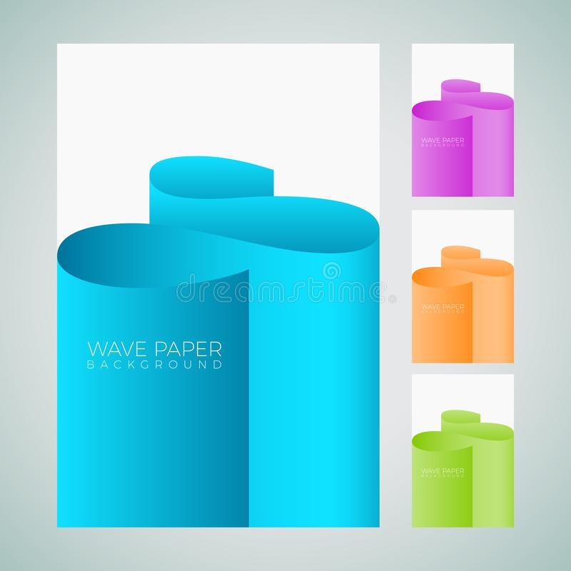 现代摘要五颜六色的波浪纸艺术样式背景设置 库存例证