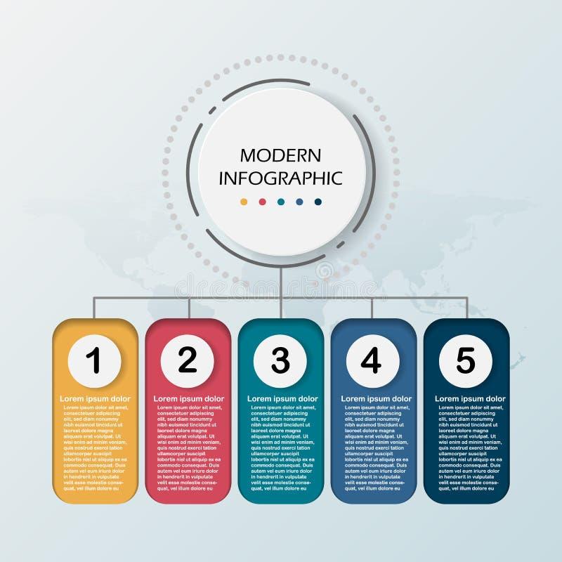 现代摘要3D infographic模板 与选择的工商界的介绍工作流图 五步成功 库存例证