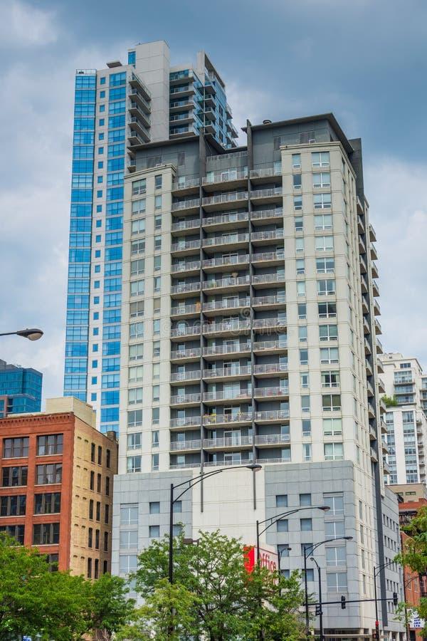 现代摩天大楼在芝加哥,伊利诺伊 免版税库存图片