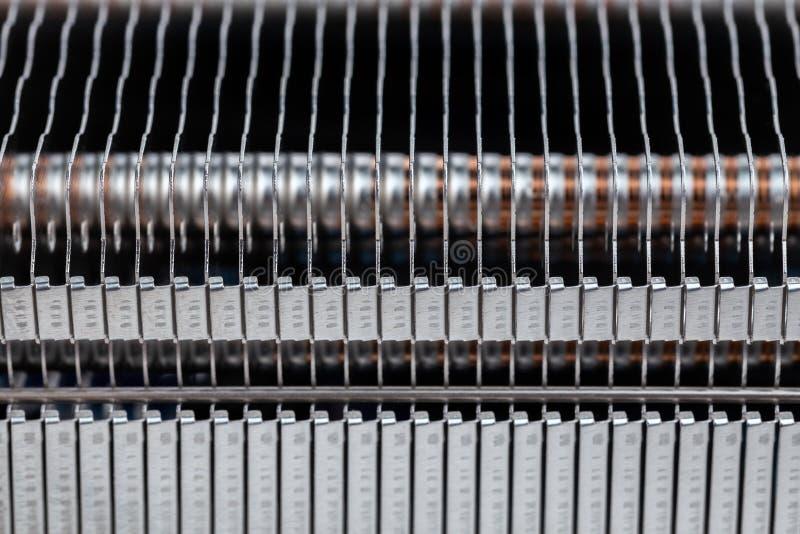现代散热器选择聚焦宏背景封闭 免版税库存图片