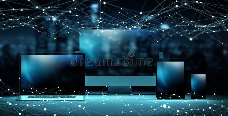 现代数字式技术设备互相连接了3D翻译 向量例证