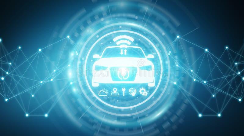 现代数字式聪明的汽车接口3D翻译 向量例证