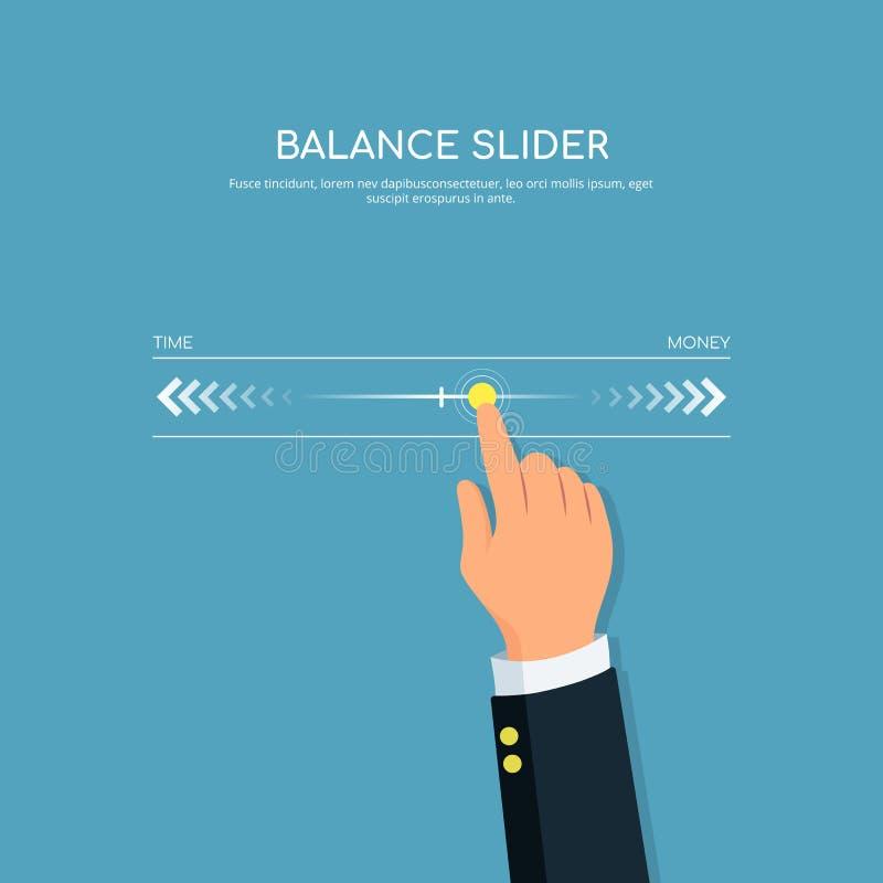 现代数字式触摸屏滑子 人手特写镜头有滑子平衡的 构思设计平衡和控制生活 皇族释放例证