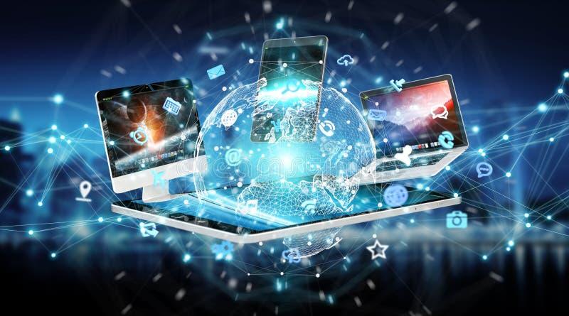 现代数字式设备互相连接了3D翻译 库存例证