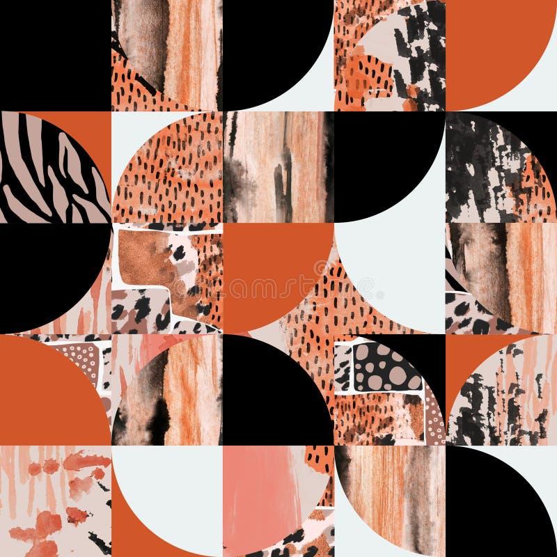 现代无缝几何图形:半圆形,圆形,带水彩,墨迹,网格纹理 皇族释放例证