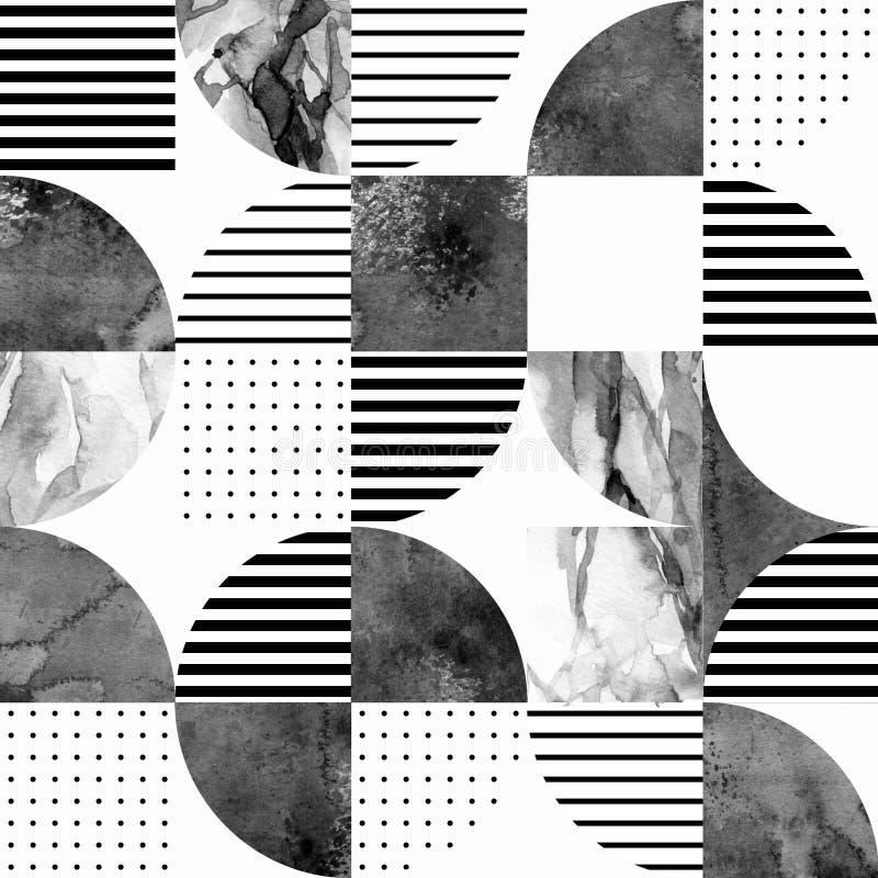现代无缝的几何样式:半圆,圈子,正方形,难看的东西,大理石,水彩纹理,乱画 向量例证