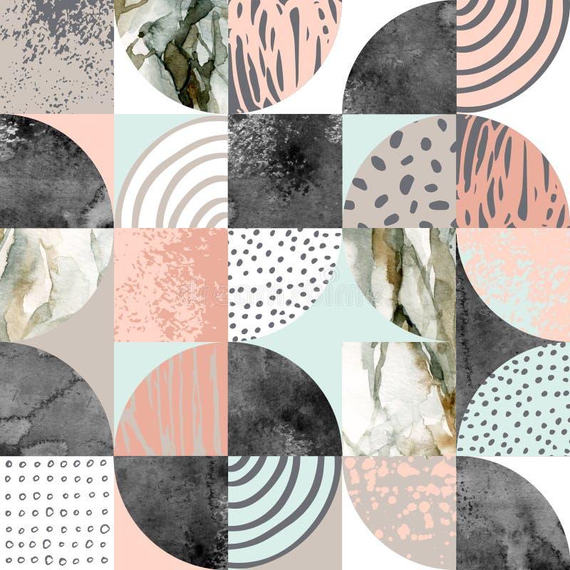 现代无缝的几何样式:半圆,圈子,正方形,难看的东西,大理石,水彩纹理,乱画 库存例证