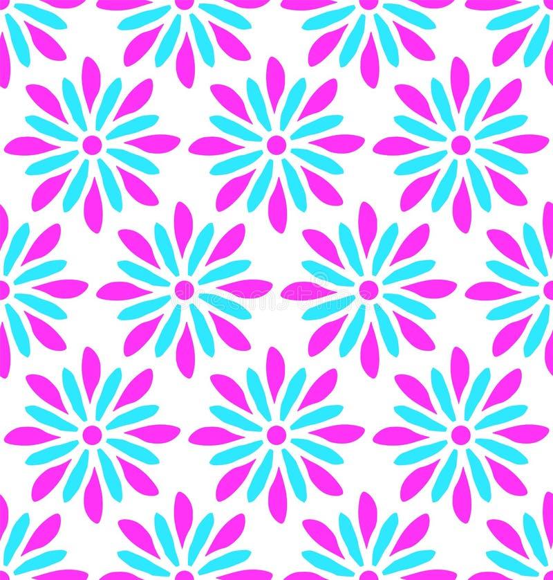 现代无缝的桃红色和蓝色花乱画样式 库存例证