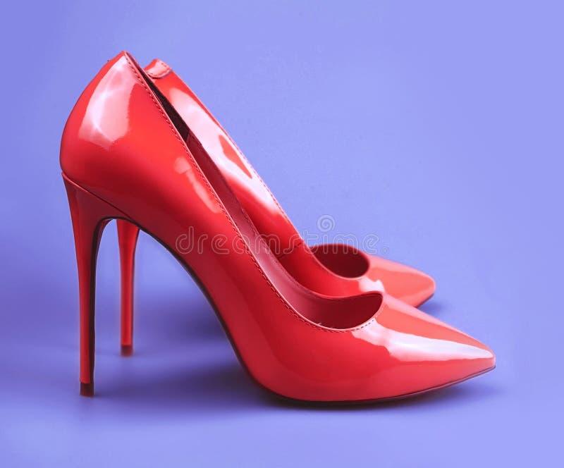 现代时兴的桃红色妇女鞋子 免版税库存照片