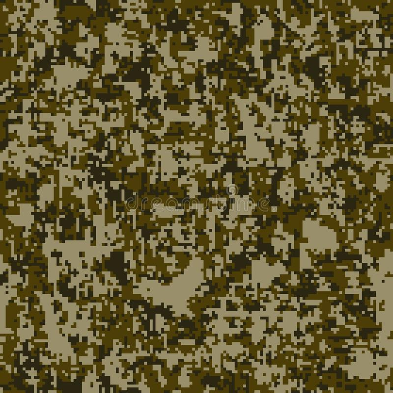 现代时尚传染媒介时髦camo样式 数字式伪装无缝的样式 皇族释放例证