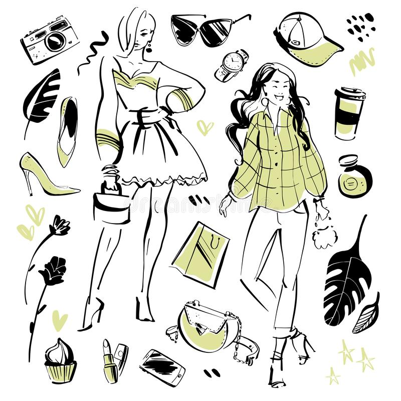 现代时尚元素和美好的模型夏天定期的衣物的,个人样式,时髦神色的传染媒介汇集, 向量例证